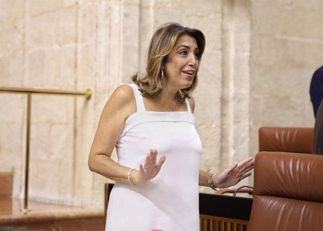 Susana Díaz, este jueves en el Pleno del Parlamento