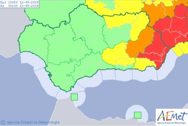 Aviso rojo por lluvias en Almería
