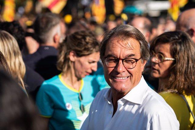 El expresidente de la Generalitat, Artur Mas durante la manifestación convocada por la Asamblea Nacional Catalana (ANC) con el lema 'Objectiu Independència (Objetivo independencia)', dentro de los actos de la Diada de Cataluña 2019, en Barcelona (España)