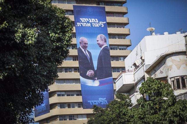 Cartel de los presidentes de rusia,Vladimir Putin, e Israel, Benjamin Netanyahu