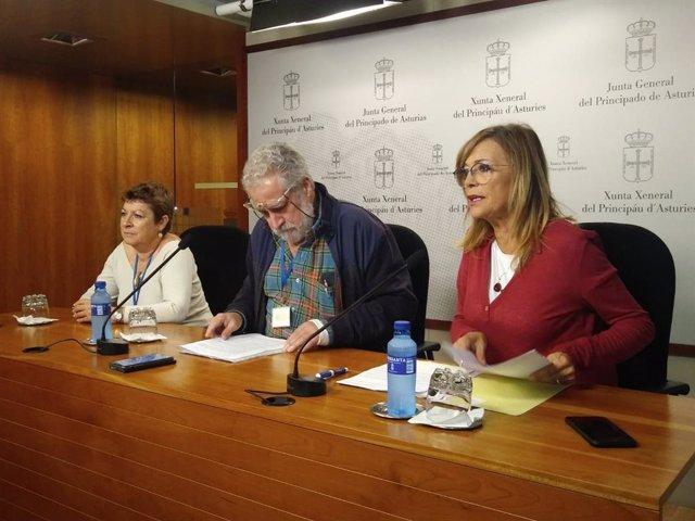 Angela Vallina con los miembros de Inmatriculaciones de Asturias.