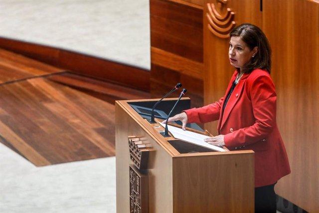 Pilar Blanco-Morales en su comparecencia en la Asamblea para hablar a petición propia sobre financiación autonómica