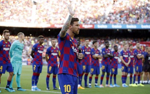 Leo Messi en la presentació del FC Barcelona
