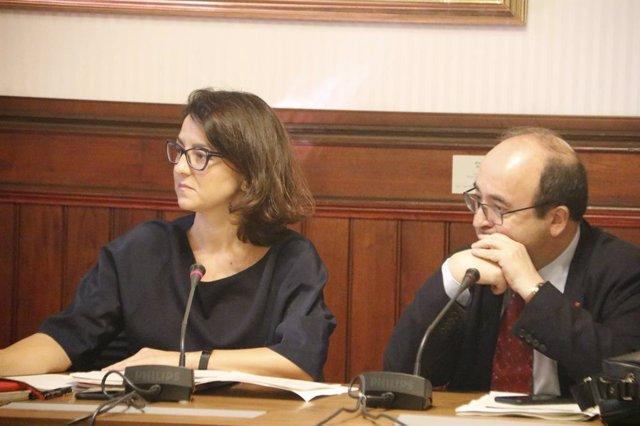 La diputada del PSC Eva Granados con el secretario general del partido, Miquel Iceta.