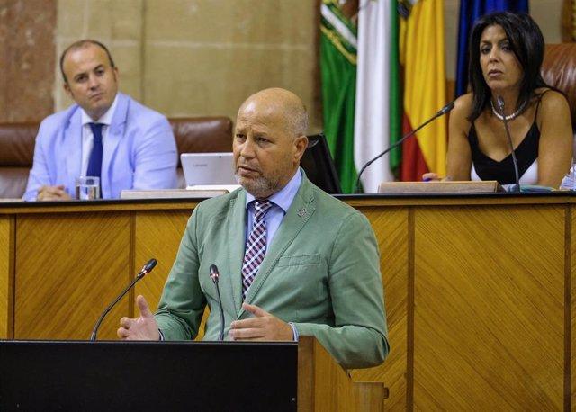 El consejero de Educación y Deportes, Javier Imbroda, este miércoles durante la sesión en el Pleno del Parlamento.