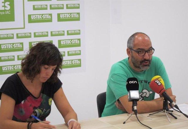 Rueda de prensa de Ustec·Stes, con el portavoz R.Font