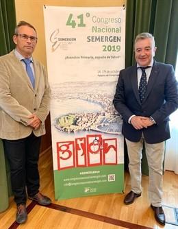 Los doctores Miguel Ángel Prieto y Antonio Fernández, en la presentación del 41º Congreso Nacional sobre Atención Primaria