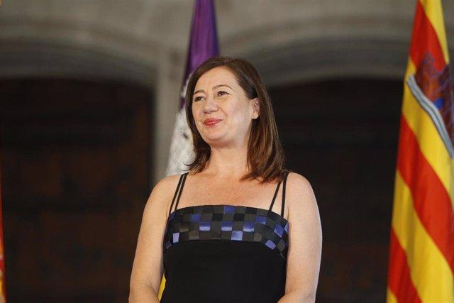 La presidenta del Govern, Francina Armengol, en su toma de posesión revalidando el cargo tras cuatro años de gobierno.