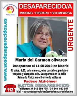 MARÍA DEL CARMEN OLIVARES, MUJER CON ALZHÉIMER DESAPARECIDA EN MADRID