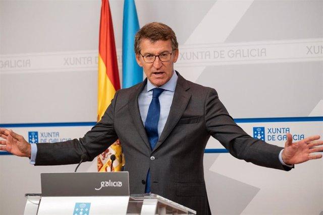 El titular del Gobierno gallego, Alberto Núñez Feijóo, en la rueda de prensa posterior al Consello de la Xunta