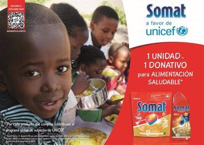 Somat colabora con Unicef para ayudar a niños que sufren desnutrición en todo el mundo