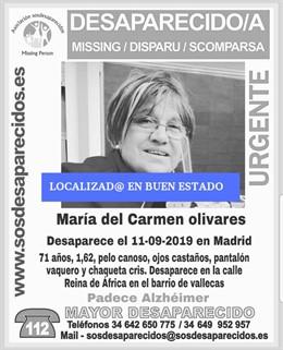 Cártel en el que se informa de la localización de una mujer desaparecida en Madrid