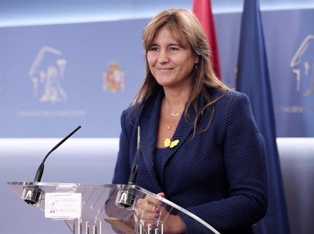 La portaveu de Junts al Congrés, Laura Borràs, ofereix una roda de premsa al Congrés dels Diputats un dia després de la celebració de la Diada de Catalunya 2019, a Madrid (Espanya), a 12 de setembre de 2019.