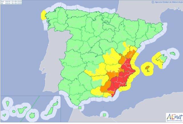 Imatge de les zones en risc màxim per pluges torrencials aquest divendres