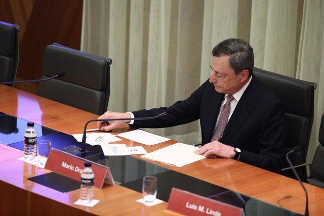 El president del Banc Central Europeu (BCE), Mario Draghi, participa a la I Conferència d'Estabilitat Financera a Madrid