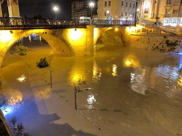 Crecida del río Segura a su paso por municipio de Murcia