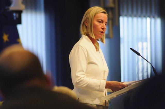 Federica Mogherini en un acto en Bruselas