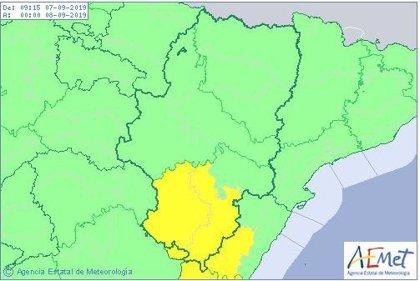 Aviso amarillo por lluvias en varias comarcas turolenses