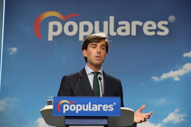 El vicesecretario de Comunicación del PP, Pablo Montesinos, durante una rueda de prensa en la sede nacional del Partido Popular.