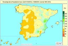 La falta de lluvias acumulada en el conjunto de España supera el 25% en el tercio oeste y buena parte de Canarias. En el conjunto de España el déficit hídrico está en el 15% y solo se salva Levante, donde ha llovido por encima de sus valores habituales.