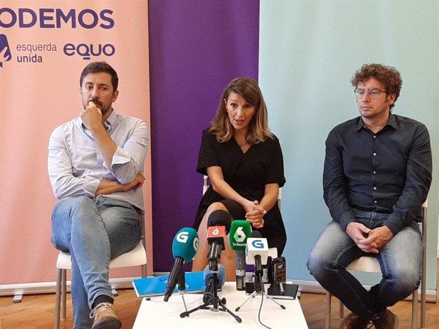 Los diputados de Galicia en Común Antón Gómez-Reino y Yolanda Díaz; y el senador José Manuel Sande