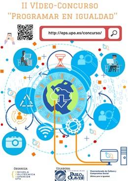 Cartel del Videoconcurso Programar en Igualdad de la Universidad Pablo de Olavide (UPO).