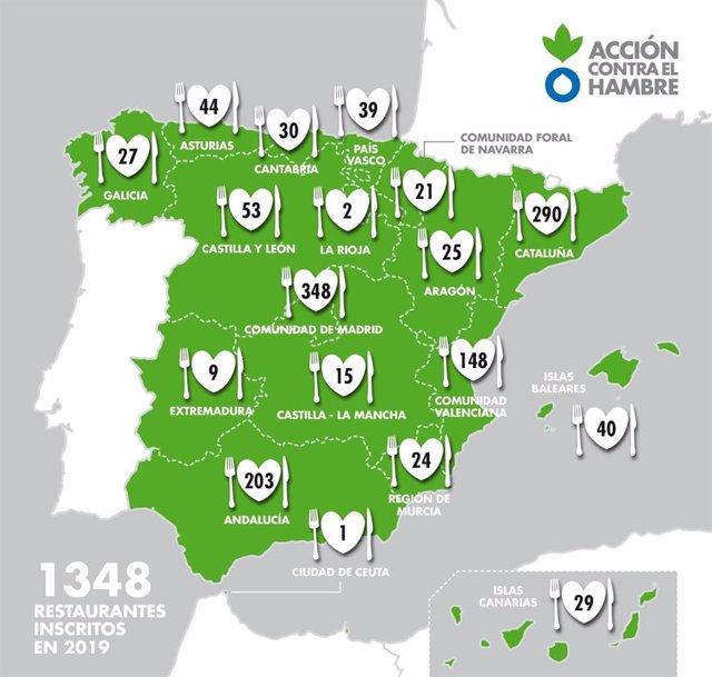 Mapa con los restaurantes participantes.