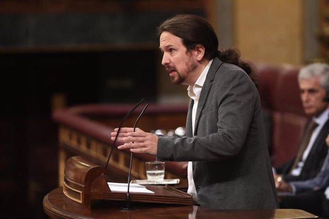 El secretario general de Podemos, Pablo Iglesias, interviene en la sesión de control al Gobierno en funciones, en Madrid (España) a 11 de septiembre de 2019.