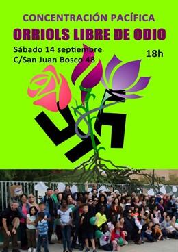 Cartel de convocatoria de concentración 'Orriols Libre de Odio'