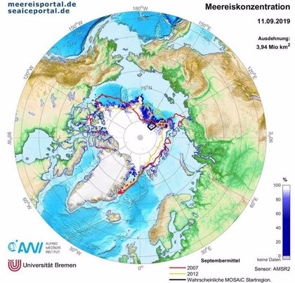 Segundo mínimo histórico en la extensión de hielo en el Océano Ártico