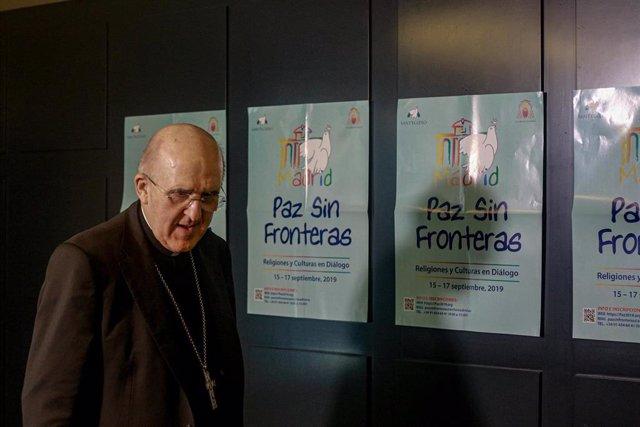 El cardenal arzobispo de Madrid, Carlos Osoro, durante la presentación del Encuentro Internacional de Oración por la Paz 2019 organizado por el Arzobispado de Madrid y la Comunidad de Sant' Egidio, en Madrid (España), a 13 de septiembre de 2019.