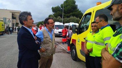 Pedro Saura acompaña al delegado del Gobierno en el Puesto Avanzado de Mando establecido en Santomera
