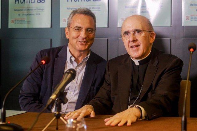 El presidente de la Comunidad de Sant'Egidio, Marco Impagliazzo, y el cardenal arzobispo de Madrid, Carlos Osoro,