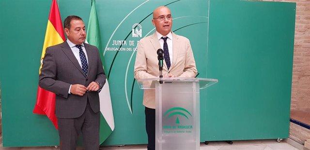 Rueda de prensa de Pérez Blanes junto con el delegado del Gobierno andaluz en Sevilla, Ricardo Sánchez