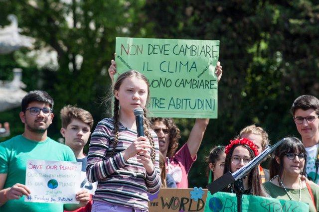 L'activista pel clima, Greta Thunberg, a Roma.
