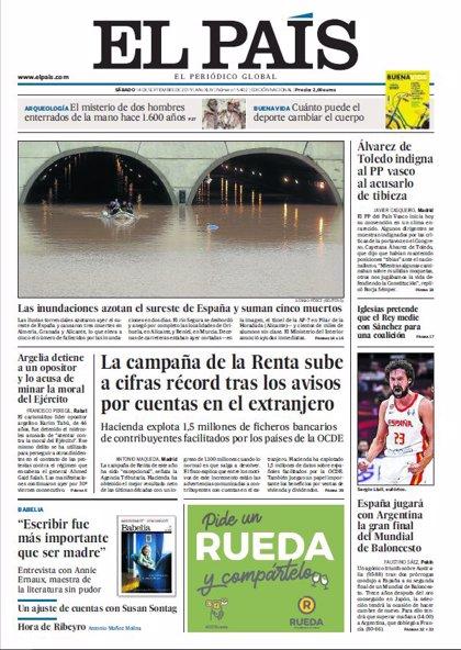 Las portadas de los periódicos del sábado 14 de septiembre de 2019