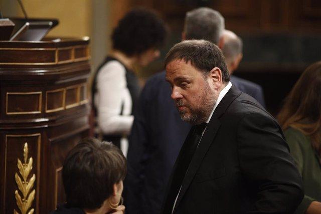 El pres del procés i ex-vicepresident de la Generalitat, Oriol Junqueras (ERC) acudeix a la votació de la Presidència i dels membres de la Taula del Congrés durant la sessió constitutiva de la nova Cambra baixa.