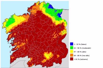 Casi toda Galicia se encuentra este sábado en riesgo extremo de incendio forestal