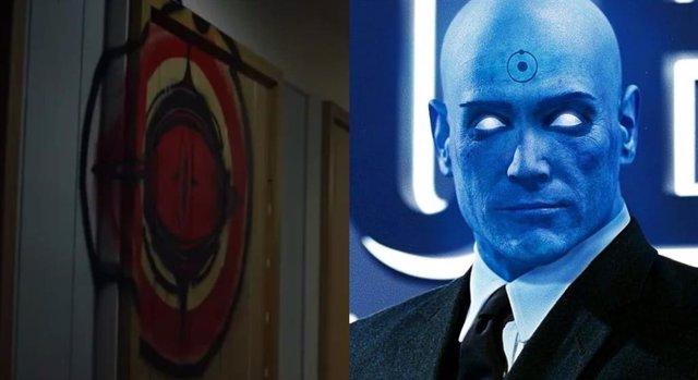 El extraño logo del tráiler de Watchmen junto al Doctor Manhattan