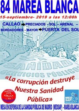 Cartel de la manifestación de la 84ª Marea Blanca.