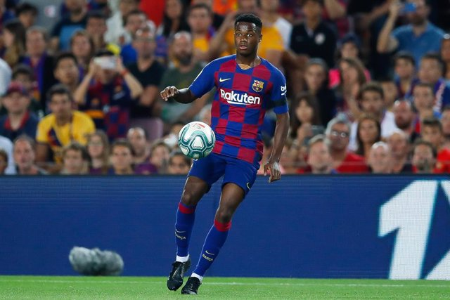 Ansu Fati of FC Barcelona during the spanish league football match played between FC Barcelona v Valencia CF at Camp Nou Stadium in Barcelona, Spain, on September 14, 2019.