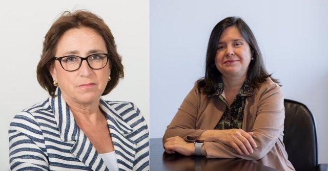 Collage de Rocio Eguiraun, directora de Bankia AM (a la izquierda) y Carmen Gimeno, presidenta no ejecutiva de Caixabank AM (a la derecha).