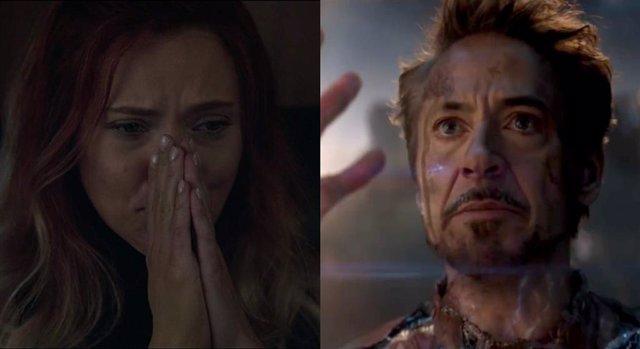 Viuda Negra y Tony Stark en Vengadores: Endgame