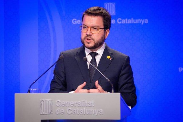 Pere Aragons Interviene En Rueda De Prensa Tras El Consell Executiu