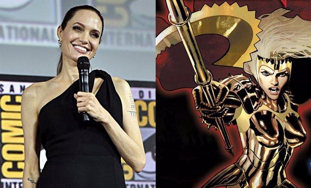 Angelina Jolie y Thena de Los Eternos