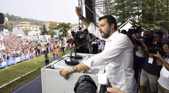 El líder del partido ultraderechista Liga, Matteo Salvini, en Pontida, Lombardía