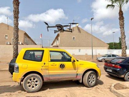 Despliegan un dron sobre Los Alcázares para evaluar las áreas dañadas