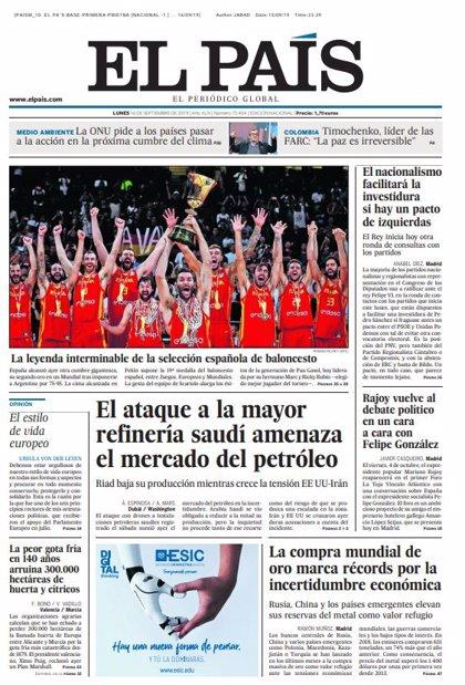 Las portadas de los periódicos del lunes 16 de septiembre de 2019