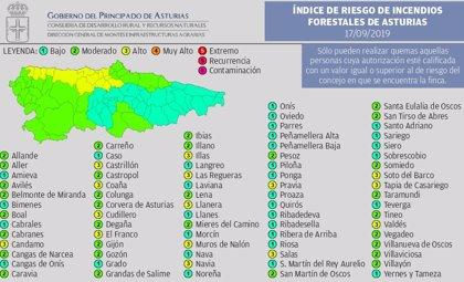 El índice de riesgo por incendios forestales será este martes 'alto' en 15 municipios asturianos