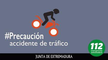 """Herido """"menos grave"""" un motociclista en un accidente de tráfico en la ciudad de Cáceres"""